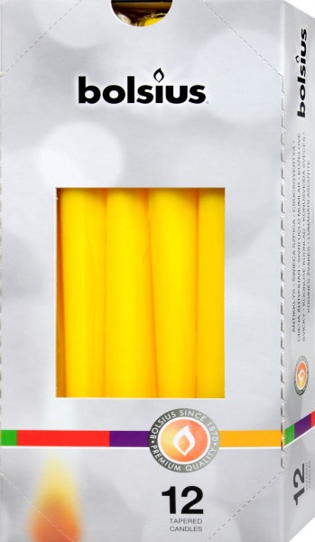 Bolsius Tapered Candle, Yellow, 250 x 24 mm