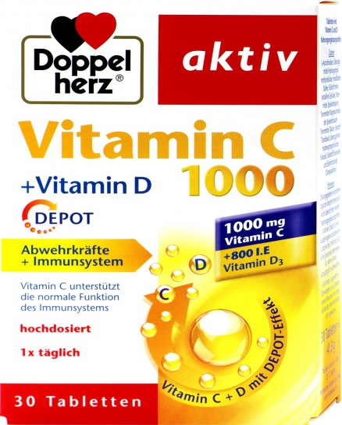 Doppelherz Vitamin C 1000 + Vitamin D Depot, 30-count