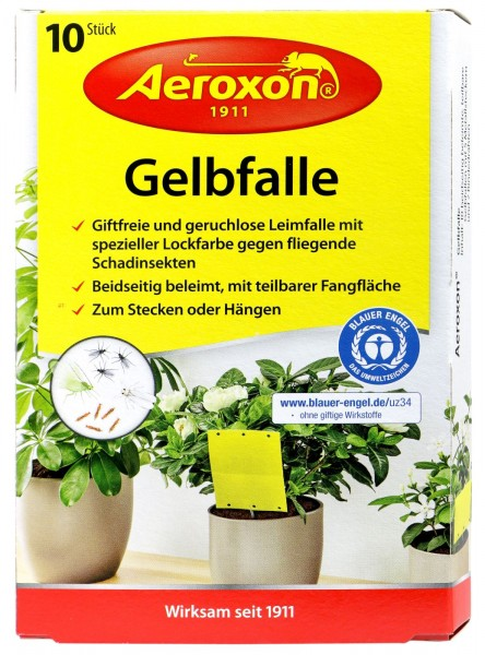 Aeroxon Yellow Trap for Potted Plants, 10-pack
