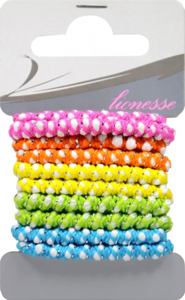 Hair Bands with Lurex, assorted colours, 5-pack