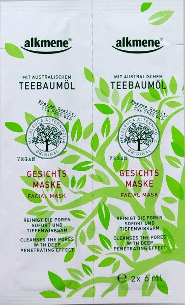 Alkmene Tea Tree Oil Face Mask, 2 x 6 ml
