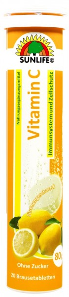 Sunlife Vitamin C Effervescent Tablets Immune- and Cell Protection, 20-count