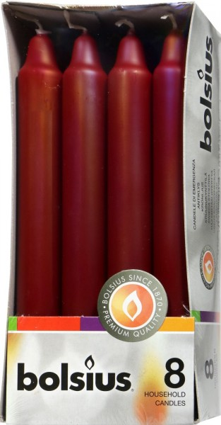 Eika Household Candles, Bordeaux, 8-pack