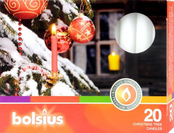 Bolsius Christmas Tree Candle, White, 12.8 x 0.97 cm, 20-count