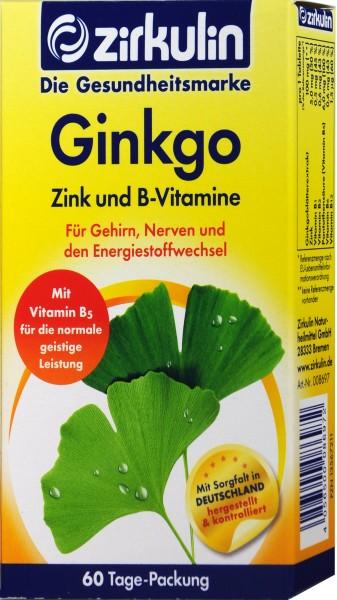Zirkulin Ginkgo Zinc Vitamin B, 60-count