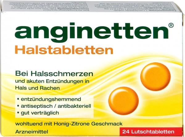 Anginetten Honey Lemon Throat Lozenges, 24-count