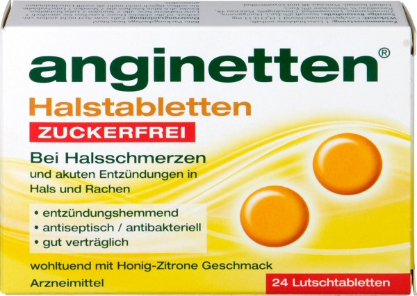 Anginetten Lozenges, sugar-free, 24-count