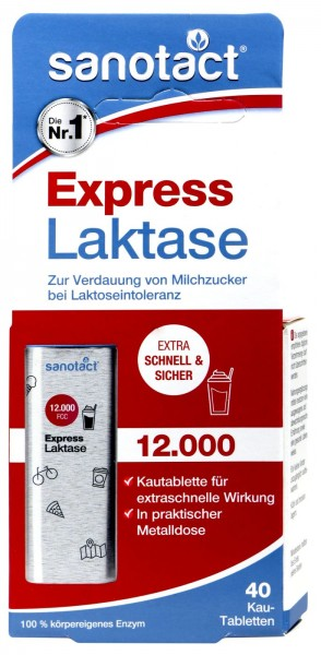 Sanotact Express Lactase 12.000 Chewable Tablets, 40-count