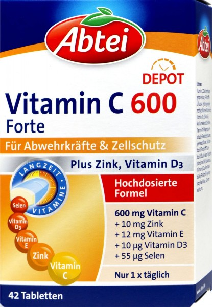 Abtei Vitamin C 600 Forte Plus Zinc, Vitamin D3 Tablets, 42-count