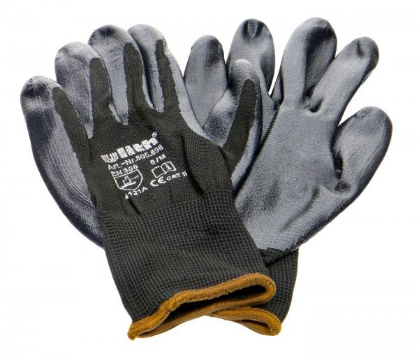 Nitrile Glove Black, Fine Knit, Brown Border EN388, Size 8
