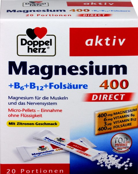Doppelherz Magnesium + B6 + B12 Direct, 20-count