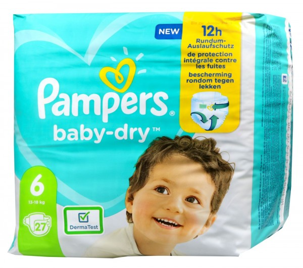 Pampers Baby Dry Nappies Size 6 (13-18 kg), 27-count