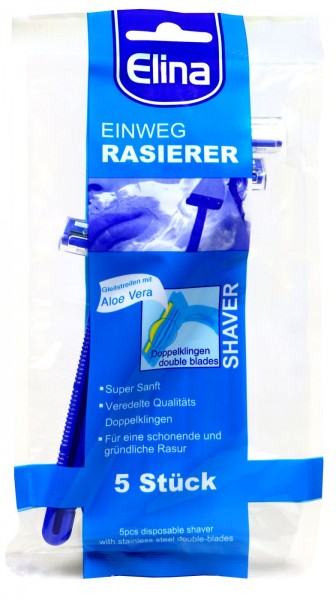 Double Blade Disposable Razor, 5-pack