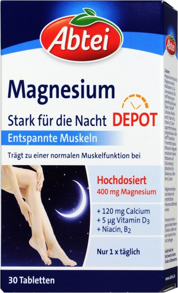 Abtei Magnesium Nighttime Strength, 30-count