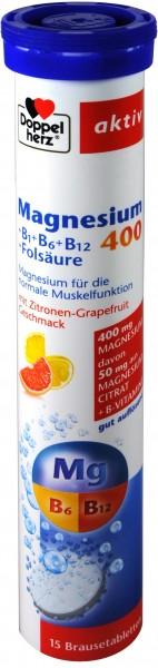 Doppelherz Magnesium 400 + B-Complex Effervescent Tablets, 15-count