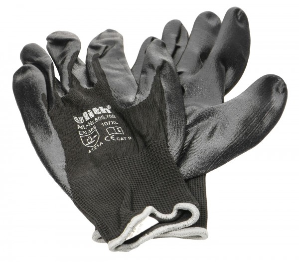 Nitrile Glove Black, Fine Knit, Grey Border EN388, Size 10
