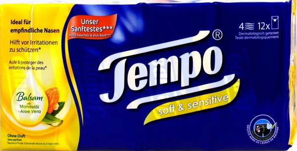 Tempo Soft & Sensitive Balsam Almond Oil and Aloe Vera, 12 x 9