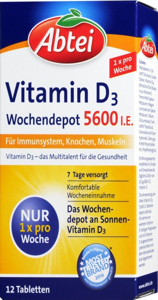 Abtei Vitamin D3 Forte Tablets, 12-count