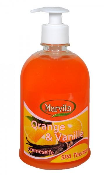 Cream Soap, Orange + Vanilla, pump dispenser, 500 ml