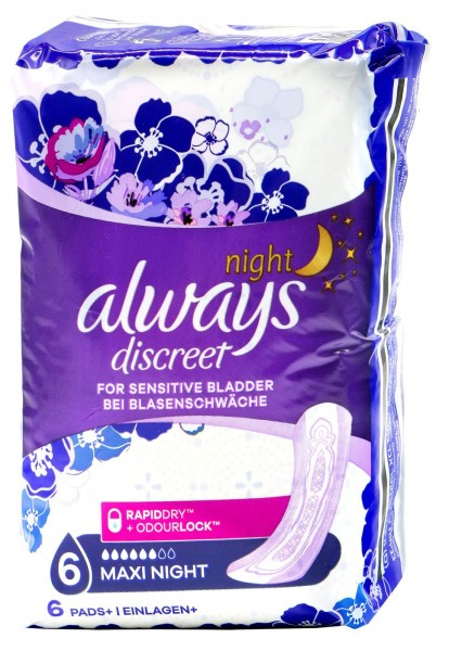 Always discreet Incontinence Pantyliner Maxi Night, 6--count