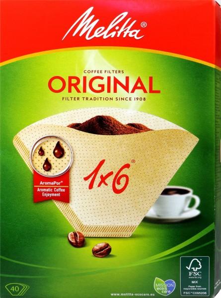 Melitta Filter Bags 1 x 6, Natural Brown, 40-count