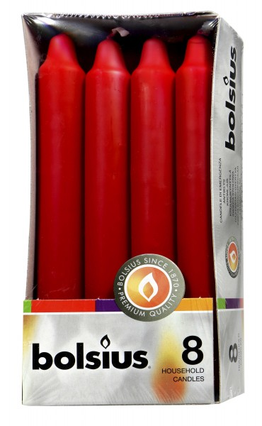 Eika Household Candles, Red, 8-pack