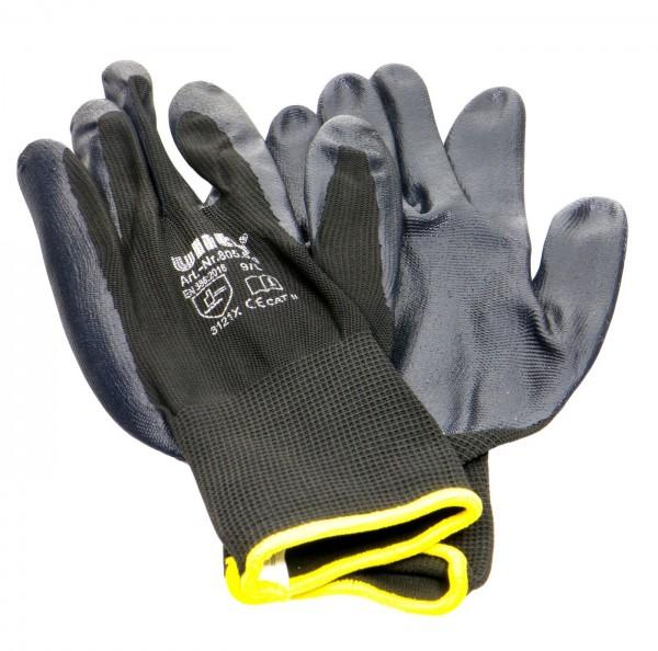 Nitrile Glove Black, Fine Knit, Yellow Border EN388, Size 9