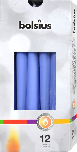 Bolsius Tapered Candle, Cornflower Blue, 250 x 24 mm