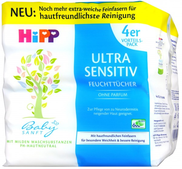 Hipp 90001 Unscented Baby Soft Wipes, 4 x 52-count
